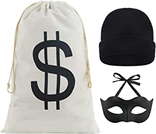 Auihiay Robber Costume Include 17 x 11 inch Dollar Sign Bag Bandit Eye Mask Black Knit Hat for Burglar Halloween Costume Thief Cosplay Props Bank Robber Accessories
