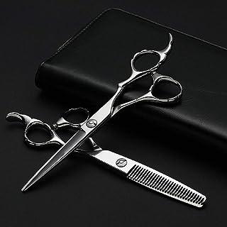 Professional Barber Professional Hairdressing Set, Flat + Tooth Scissor Thin Bamboo Handle Scissors Set Scissors (Color : ...