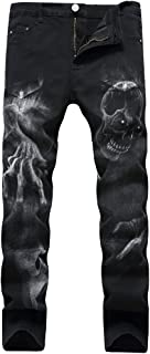 Men's Black Printed with Skull Wolf Head Distressed Ripped Long Straight Slim Fit Skinny Jeans Pants