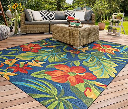 Couristan Covington Tropical Orchid/Azure-Forest Green-Red Indoor/Outdoor Area Rug