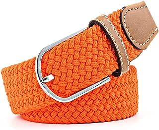 SGJFZD Men's and Women's Canvas Woven Elastic Pin Buckle Belt Personality Fashionable Student Belt (Color : Orange, Size : 105cm)