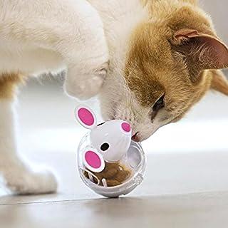 Pawaca - Dispensador de pelota para gatos, juguete de alimentación para mascotas, bola interactiva para dispensar tratamiento para gatos, aumenta el IQ y la estimulación mental, la modelación del ratón es más atractiva para los gatos