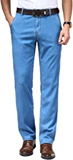 Mens Thin Plain Coloured Straight Leg Regular Fit Classic Basic Denim Jeans,