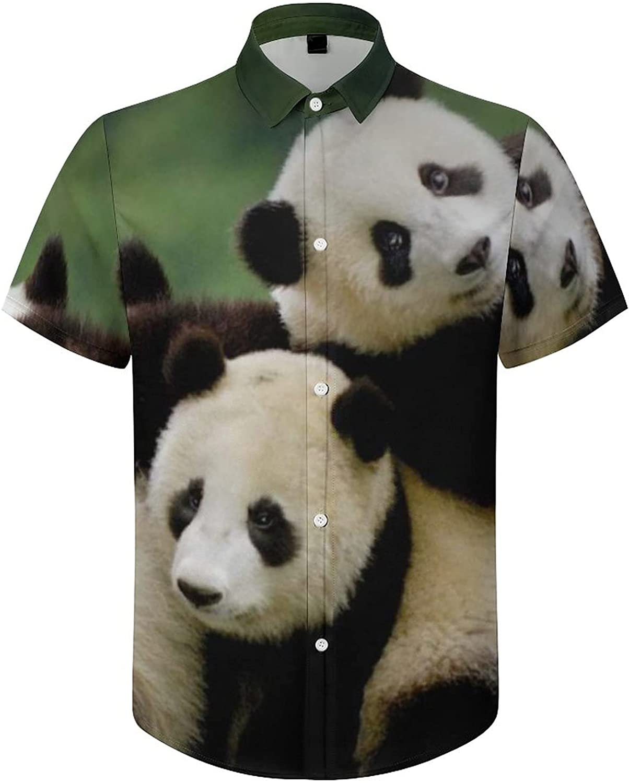 Hawaiian Shirts for Men Panda Climb Tree Printed Beach Shirt Hawaiian Shirts