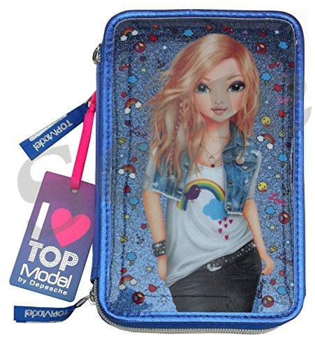 Depesche Top Model Federtasche Mäppchen Federmäppchen 3Fach blau Friends NEU 7970