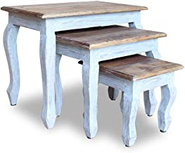 vidaXL Solid Reclaimed Wood Nesting Table Set 3 Piece Living Room Furniture