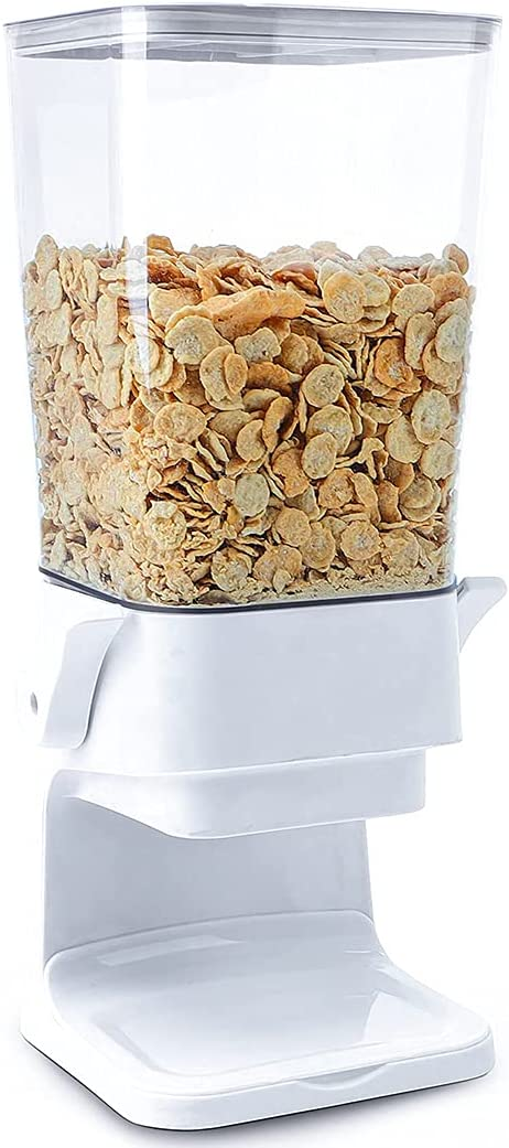 Conworld Cereal Dispenser Countertop ,Candy Dispenser,Big Dry Food Cereal Dispenser, Not Easy to crush Food, Can Hold Cereal, Small Snacks, for Home Office Hotel Commercial Bar, White (5000ml).