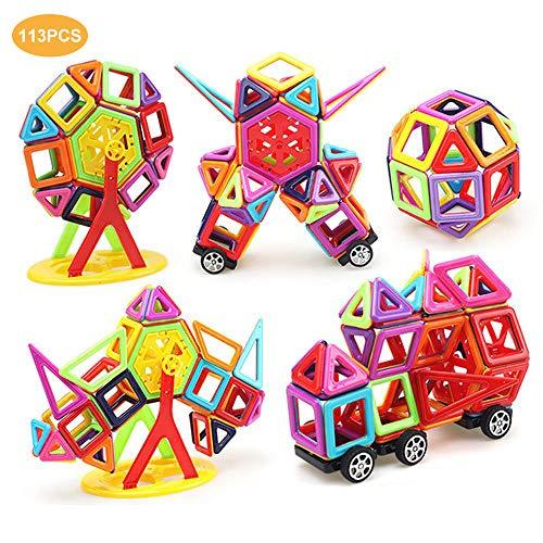 LUXJET Bloques de Construcción Magnéticos Set, Magnéticas Juegos de Construcción Educativos Creativos DIY Juguetes Regalo para niños (95PCS) (Build Toy 113pcs)