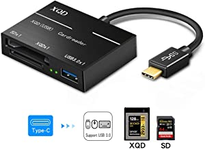 XQD/SD Card Reader Adapter, USB C Portable Flash Memory Card Reader Connector High..