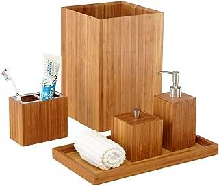 Seville Classics 5-Piece Bamboo Bath and Vanity Luxury Bathroom Essentials Accessory Set