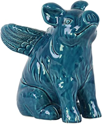 Urban Trends Ceramic Crouching Pelican Figurine on Tree Stump Base with Gloss Finish Turquoise