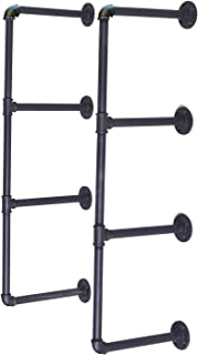Articial 4-Tier DIY Industrial Pipe Shelf Kit Hanging Bookshelf for Wall Open Pipe Shelving Black (4 Tiers)