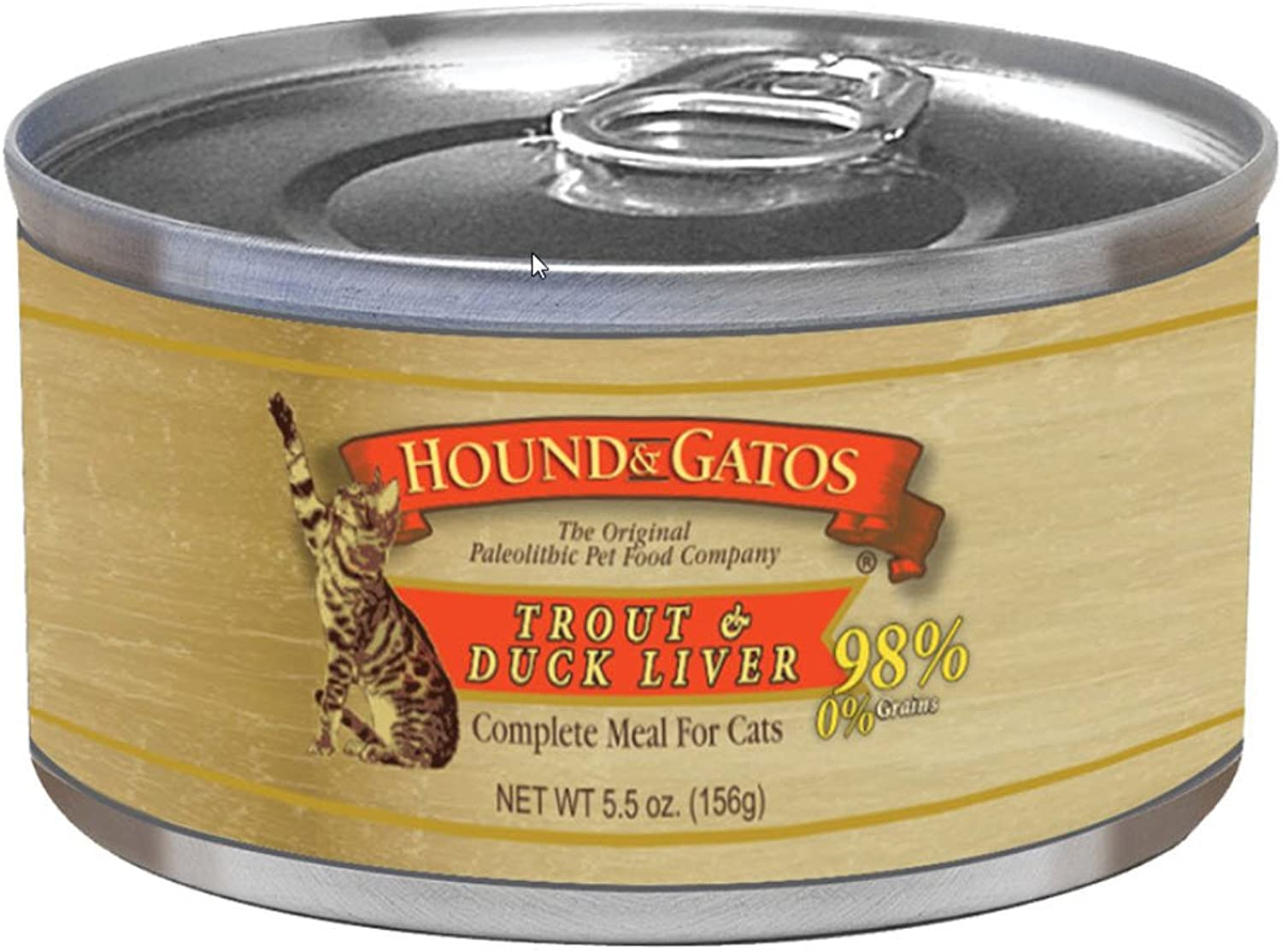 Hound & Gatos Trout and Duck Liver Canned Cat Food 5.5 oz  24 can case