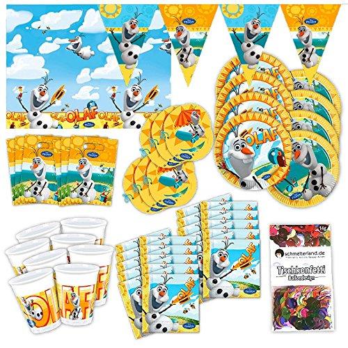 Olaf Schneemann Party Set XL 57-teilig für 6 Gäste Frozen Olafparty Deko Partypaket