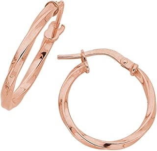 Bevilles 9ct Rose Gold Silver Infused Twist Hoop Earrings 15mm
