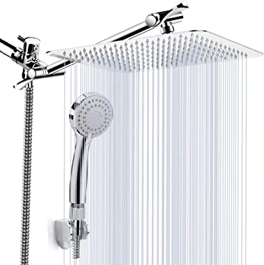 "Kaqinu Shower Head, 8'' High Pressure Rainfall Shower Head/Handheld Showerhead Combo with 11"" Extension Arm, Anti-leak Shower Head with Holder/Hose, Flow Regulator, Chrome"