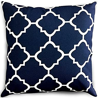 Utopia Bedding Decorative Square 18 x 18 inch Throw Pillow - Navy & White Moroccan Quatrefoil Lattice Cushion Pillow