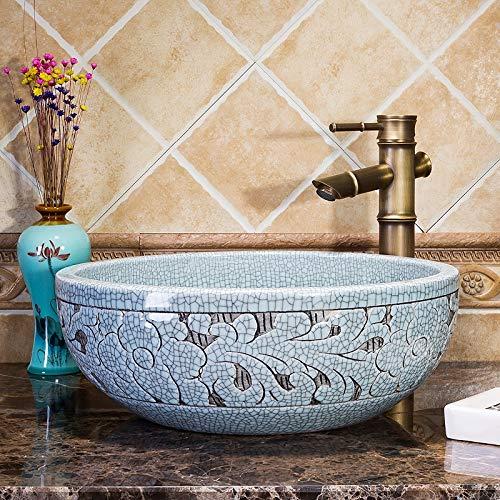 CBCJU Dekorative orientalische Waschbecken aus geknistertem Porzellan mit Arbeitsplatte Durchmesser41 * High15CM A