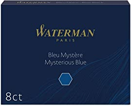 Waterman Fountain Pen Ink Cartridges, Long, Mysterious Blue, 8 Count