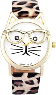 Women Quartz Wristwatch,Hosamtel Girls Cute Glasses Cat Dial Analog Quartz Watch