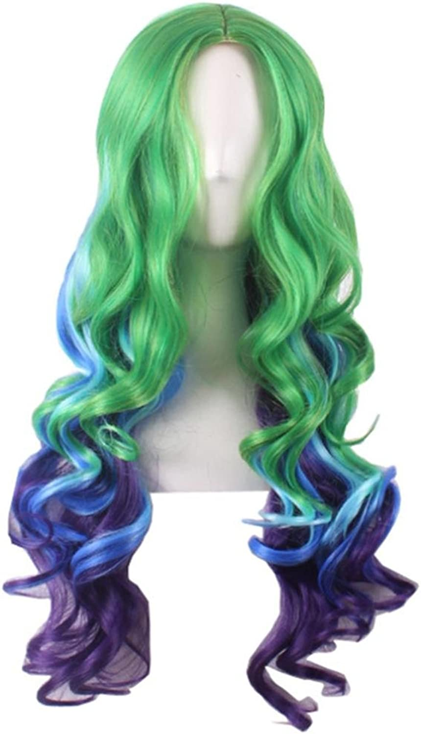 JIAFA Women Wigs Fashion Animation Cosplay Green bluee Gradient In The Long Section Of Wig