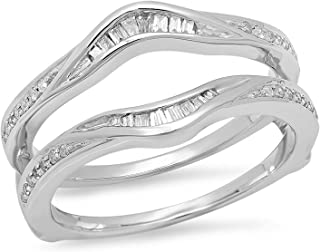 Dazzlingrock Collection 0.25 Carat (ctw) 10K Gold Round & Baguette Cut White Diamond Wedding Band Enhancer Ring