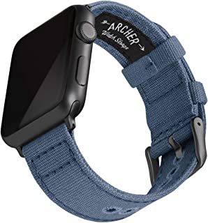 Archer Watch Straps - Canvas Watch Bands for Apple Watch (Classic Denim Blue, Gray, 42/44mm)