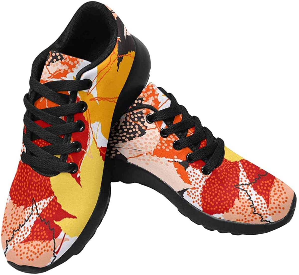 InterestPrint Women's Running Shoes Lightweight Non-Slip Breathable Walking Shoes Autumn Maple Leaf in Black Yellow Red Orange