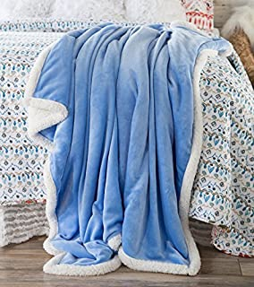 North End Decor Large Extra Plush Sherpa 68x54, Solid Periwinkle Purple Throw Blankets, 54