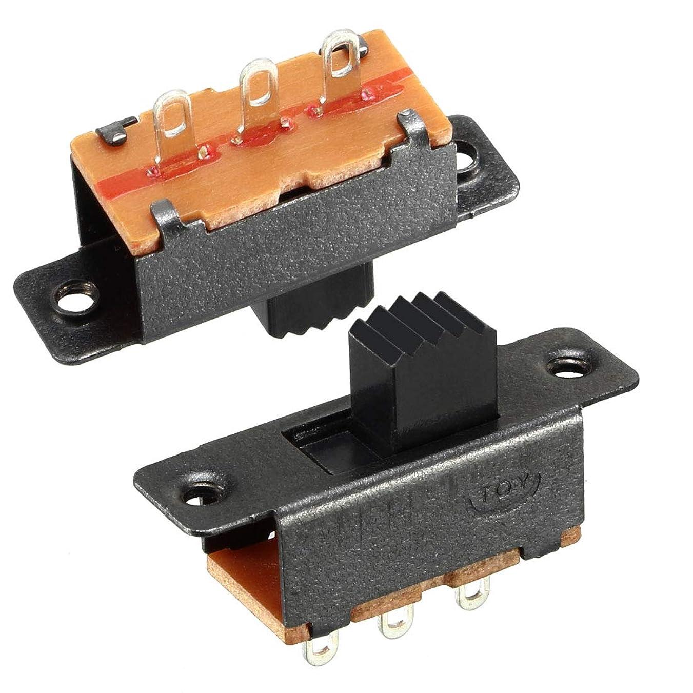 裸反発ゾーンuxcell スライドスイッチ トグルスイッチ SPDT 高さ5mm PCBパネルラッチング 10個入り