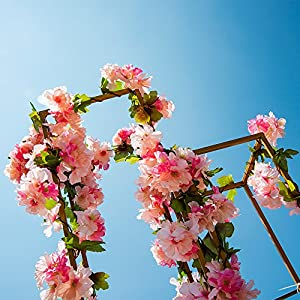 YIBELAAT 4pcs Artificial Flower Garlands Cherry Blossom Flower Vine Fake Silk Hanging Vine for Wedding Home Arch Decoration