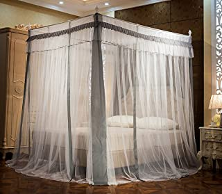 JQWUPUP Elegant Canopy Bed Curtains, Ruffle Princess 4 Corner Post Mosquito Net, Bed Canopy for Girls Kids Toddlers Crib, Bedding Décor (Full, Grey)