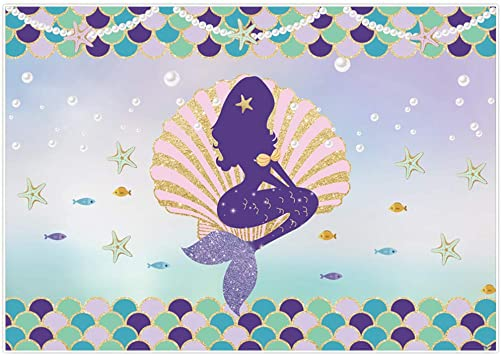 Amazon Com Allenjoy 7x5ft Golden Purple Little Mermaid Backdrop For Girls Birthday Sparkle Scales Pearl Necklace Under The Sea Party Banner Princess Bday Photography Background Camera Photo