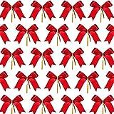 HUYIWEI Fiocco di Natale, 60 Decorazioni con Fiocco di Natale, utilizzato per Decorazioni per Alberi di Natale, Regali per Feste, Decorazioni Fai-da-Te
