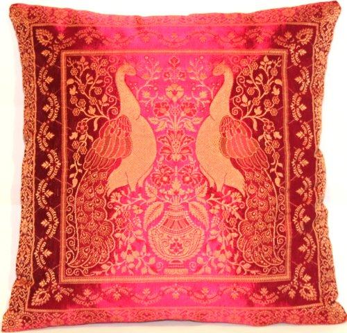 Kashmir Handicrafts Rosa färg indisk silke deco örngott 40 cm x 40 cm, extra vagant påfågeldesign för soffa och säng dekorativa kuddar, örngott från Indien. Erbjudandet gäller fram till slutet av månaden