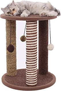 """Cat Activity Tree Sisal Cat Scratching Post Seagrass Cat Furniture 20 """" Tripod Interactive Cat Toy with Hanging Balls for Kittens Pets"""