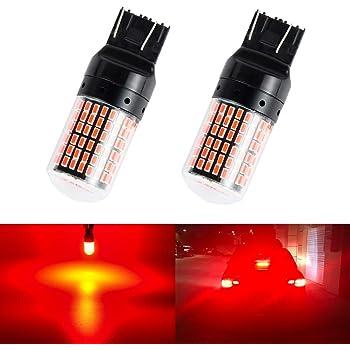 Futwod T20 LED ダブル レッド 赤 ブレーキランプ 7443 W21/5W ブレーキ バルブ ブレーキ球 ストップランプ 警告灯点灯防止 キャンセラー 抵抗内蔵 12V 車用 バイク用 ウェッジ球 LEDバルブ LEDライト 無極性 高輝度 3014SMD 144連 超拡散レンズ付き 2個セット