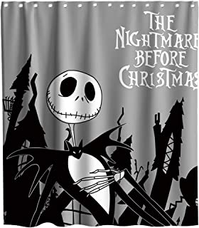 Disney Nightmare Before Christmas Moonlight Madness Theme Fabric Happy Halloween Shower Curtain Sets Kids Bathroom Halloween Decor with Hooks Waterproof Washable 70 x 70 inches Black and White