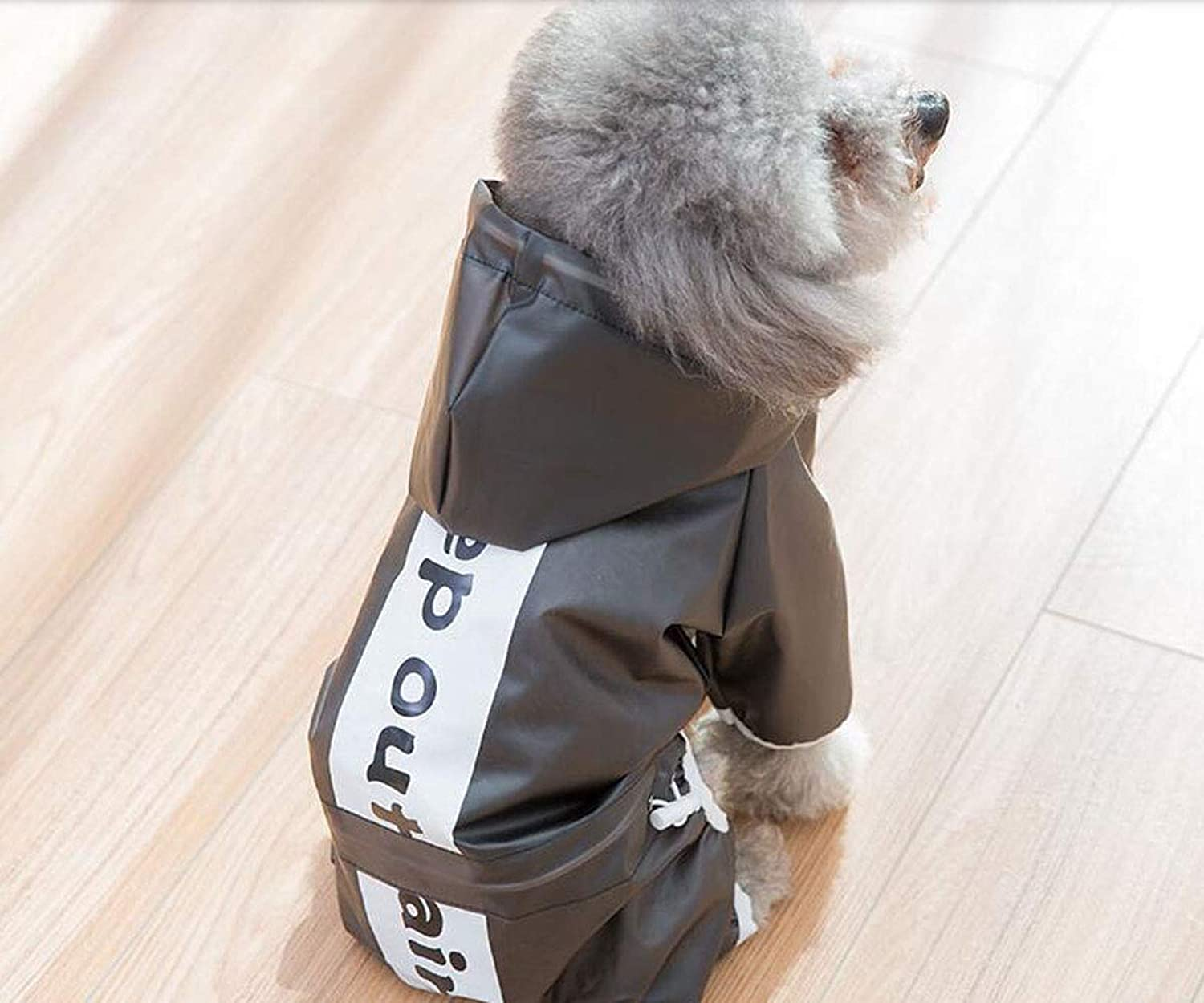 Hongyushanghang Dog Raincoat, Medium Size, Small Dog, Transparent Spring Thin Waterproof Jacket fine (color   Black, Size   M)