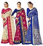 Paquete de 3 sari para mujer Mysore Art Silk Impreso Indian Sari | Regalo de boda sari con blusa sin costura