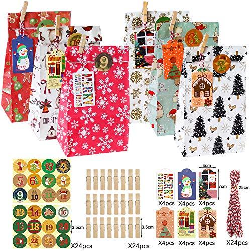 Viilich Bolsa de Calendario de Adviento de 24 Unidades, Bolsa de Papel navideña, 24 Etiquetas Adhesivas, bocadillos, Embalaje de Regalo, Bolsa de Comida, Pan, Suministros para Fiestas de Navidad