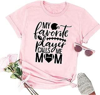 Women My Favorite Player Letter Print Tops Football Soccer Mom Tee Short Sleeve Graphic Novelty T-Shirt