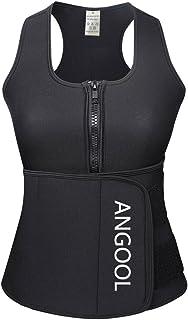 ANGOOL Neoprene Sweat Sauna Vest Waist Trainer Women Weight Loss Waist Trimmer Belt