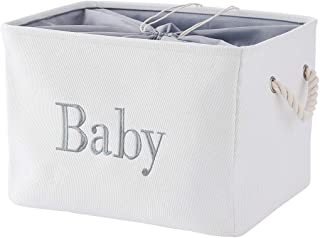 INough Baby Basket, Fabric Baby Shower Storage Bin Bathroom Basket for Boys or Girls,Towels,Wipes,Diapers and Toy Organize...