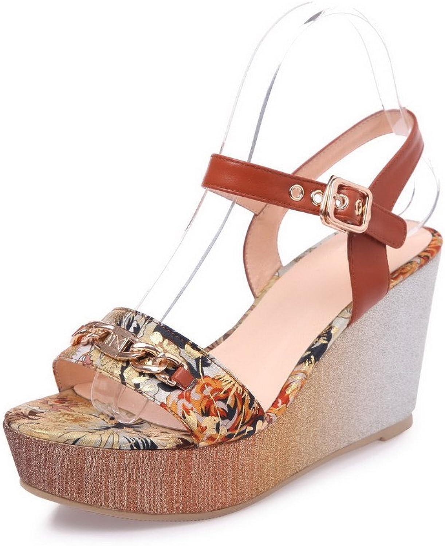 AmoonyFashion Women's Buckle Open Toe High Heels Assorted color Sandals