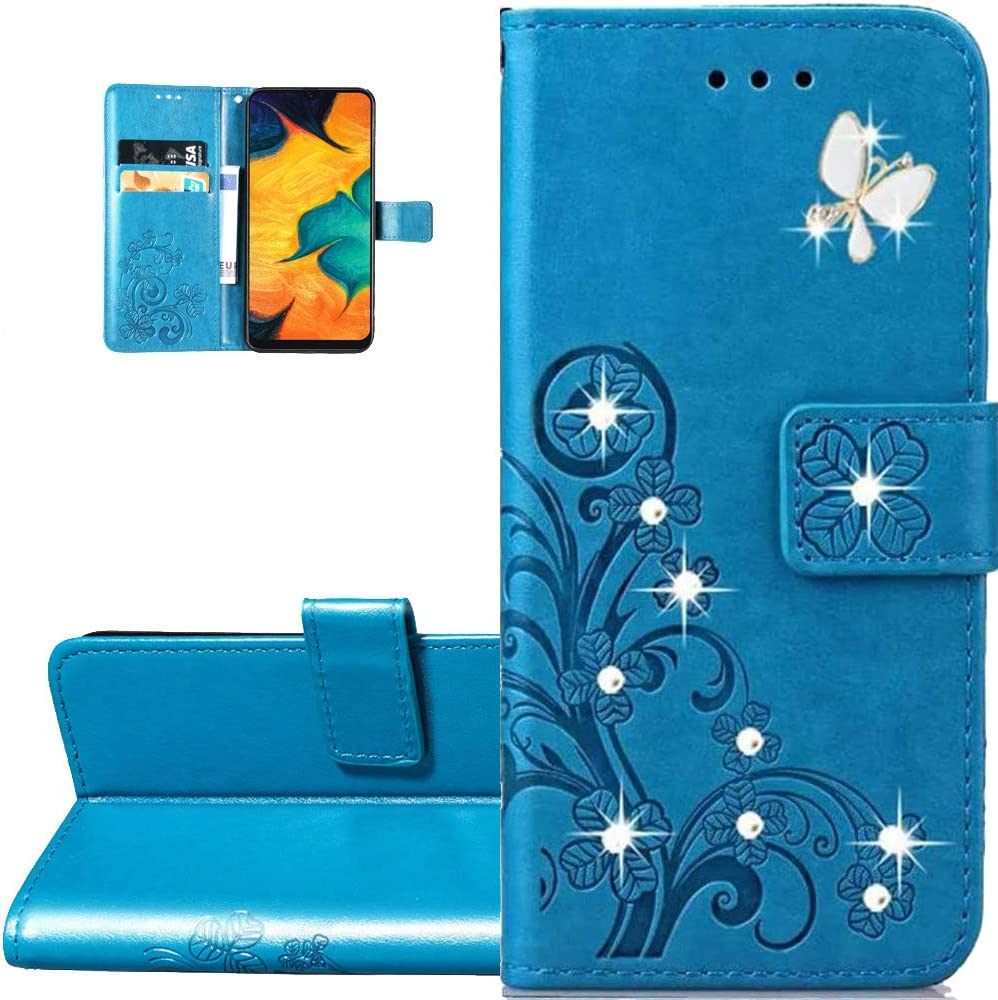 LEMAXELERS Galaxy Z Fold 2 5G Case Bling Diamond Clover Wallet Case with Card Slots Magnetic Flip Stand Premium PU Leather Shockproof Cover for Samsung Galaxy Z Fold 2 5G Diamond Clover Blue SD