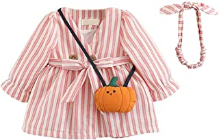 Mornyray Toddler Girls Striped Cotton Dress with Matching Headband and Pumkin Style Satchel Kids Casual Playwear Daily Out...