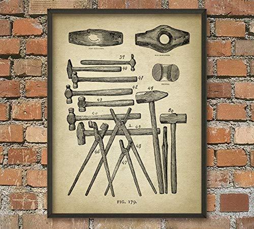 Rac76yd Blacksmith Ilustración antigua 7 Equipo Herrero Martillos Herreros Metalúrgicos Forja Herrería Idea de regalo