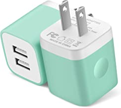 Power-7 USB Wall Charger, 2-Pack 2.1A Dual Port USB Plug Power Adapter Charging Block Charger Cube Compatible with iPhone 11/11 Pro Max/Xs/XR/X/8/7/6/Plus/5S, Samsung, LG, Moto, Android Phone (Green)