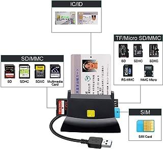 ICカードリーダー マイナンバー 電子申告e-Tax ICチップのついた住民基本台帳カード 住基カードリーダーに対応でき USB接続 ICカードリーダー LEDライトの指示、CAC/SD/Micro SD (TF)/SIM カードリーダー に対応 (ブラック)